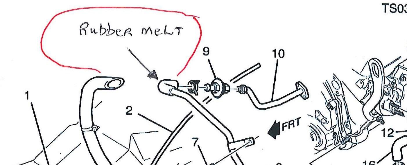 chevy 2001 4 3 blazer hose melt