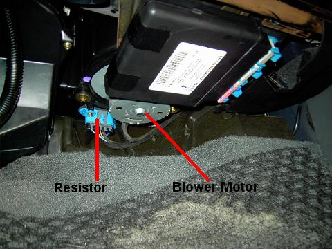 Pontiac Grand Am blower resistor location.