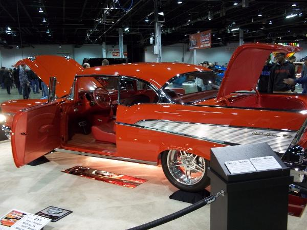 Red and White 1957 Chevy Belair