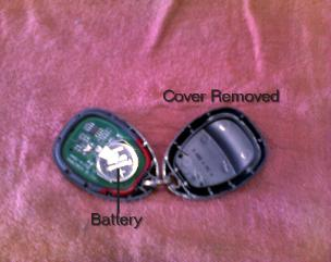 Battery location inside the remote keyless entry FOB. The metal tang that holds the battery to the circuit board is a common thing to break off and cause the remote to stop working.