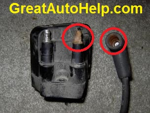 Corroded GM engine ignition coil and spark plug wire causes misfire code p0300