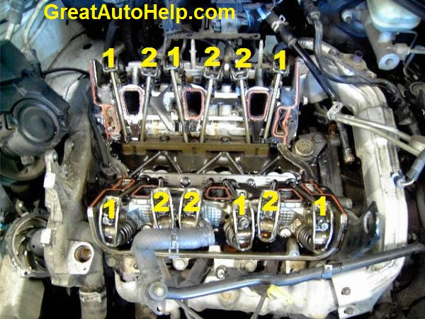 3 4l 3400 or 3 1l 3100 v6 engine pushrod and rocker arm location
