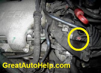 Intake air temperature (IAT) sensor location on 3.1 and 3.4L v6 engines. Will cause check engine light code P0113. Usually not the sensor causing the problem.3100 or 3400 V6.
