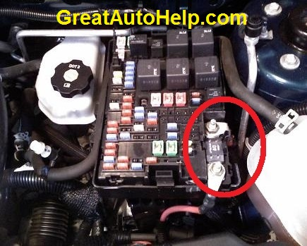 Location of the maxi fuse in a 2006 Chevy Equinox. Similar location in the Pontiac Torrent. This blown fuse causes no power steering.